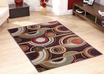 Bumper offer : Status Brown Circle Print Taba Rug Carpet + FREE Shipping low price
