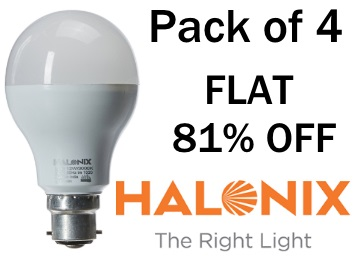 Wow Deal :- Halonix Plus 12-Watt LED Bulb Pack of 4 at Just Rs. 425 discount deal