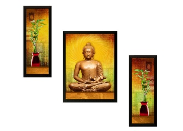 Lightning Deal : SAF 'Buddha Religious' Painting (Set Of 3) at Just Rs. 325 low price
