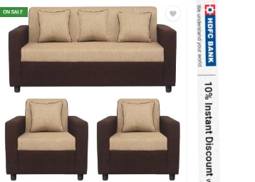 PRICE DOWN :- Gioteak Fabric 3 + 1 + 1 Sofa Set at Just Rs. 12950 {worth Rs. 35000} low price