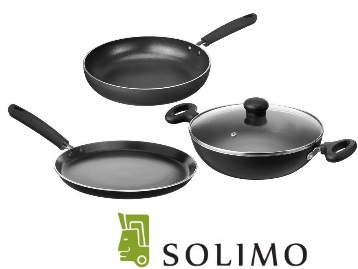 {64% Claimed} Solimo Non-Stick 3-Piece Kitchen Set at Just Rs. 999 low price