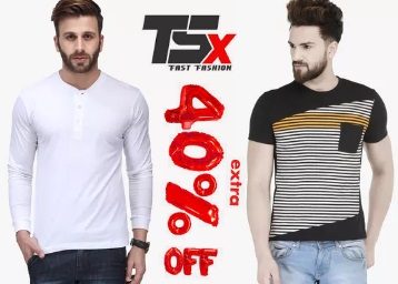 HURRY UP : TSX Men's Clothing at Minumum 50% Off + Extra 40% Off low price