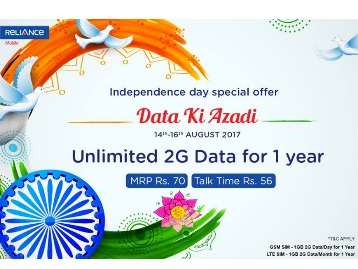 {Last Day} Unlimited 2G Data for 1 Year at Just Rs.70 – Reliance discount deal