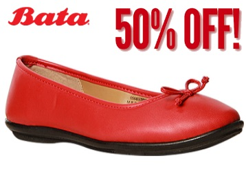 BATA RED BALLERINAS FOR WOMEN AT FLAT 50% OFF + FREE SHIPPING low price