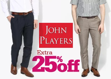 John Players Trousers For Men at Flat 50% Off + Extra 10% Off + FREE SHIPPING low price