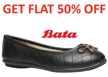 BATA BLACK BALLERINAS FOR WOMEN at Flat 50% Off + FREE SHIPPING low price