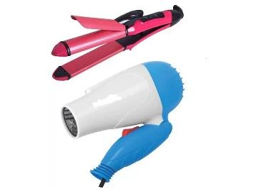 Special Combo : 2 in 1 Hair Straightener + Curler & Dryer at Flat 77% Off + Free Shipping discount deal
