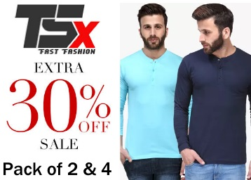 Till Midnight Steal:- TSX Tees [Pack of 2 & 4] at Flat 77% OFF + Extra 30% OFF low price