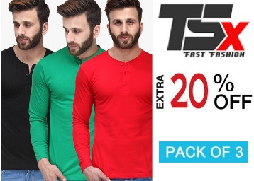 TSX Multicoloured Colored Solid T-Shirts at Flat 77% Off + Extra 20% Off low price