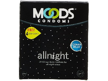 Steal : Moods All Night 20 Condom with Free 4 Condoms at Just Rs.60 discount deal