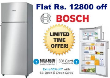 Bumper Price: Bosch 290 L Double Door Refrigerator at Just Rs. 19999 + More discount deal