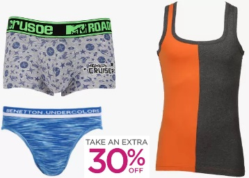 Men's Inner Wear & Sleepwear at Extra 30% OFF From Rs. 174 low price