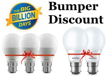 Wipro 10 W Standard B22 LED Bulb (White, Pack of 3) at Just Rs. 309 discount deal