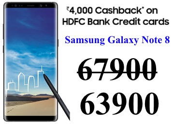 Samsung Galaxy Note 8 at Rs. 4000 Cashback Via HDFC Card discount deal
