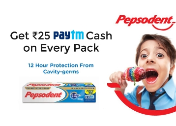 BUMPER OFFER : Get Rs. 25 Paytm Cash With Every Pepsodent Toothpaste