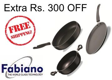 Steal Price:- Fabiano Tawa Kadhai & Pan Set of 3 at Just Rs. 407 + Free Shipping low price