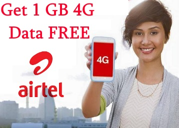My Airtel App Welcome Offer : Get 1 GB Free 3G/4G Data For