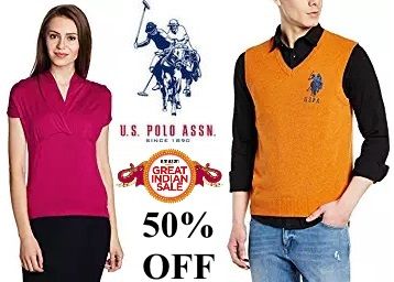 US Polo Association Clothing Minimum 50% off from Rs. 199 low price