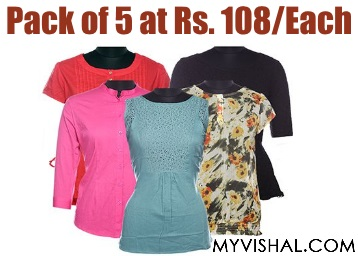 Women Shirt Combo 5 Pcs at Just Rs. 108/ Each + FREE Shipping discount deal