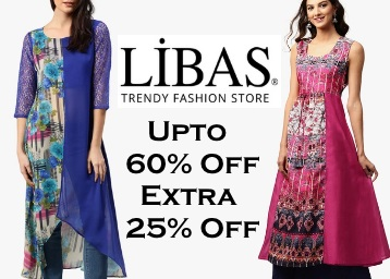 Bumper Deal : Upto 60% Off + Extra 25% Off Libas Women's Clothing low price