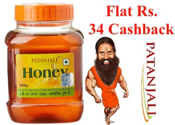 Patanjali Honey 500G 1Pc at Flat 25% Cashback From Rs. 101