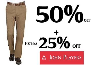 Bumper Offer : Get JOHN PLAYERS TROUSERS Flat 50% OFF + Extra 25% OFF low price