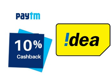 Steal : Get Flat 10% Cashback on IDEA mobile recharge & bill payments discount deal