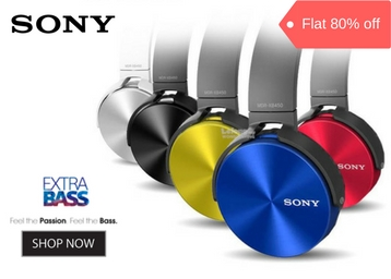 STEAL : Sony MDR-XB450BE Extra Bass Headphones at Rs. 499 low price