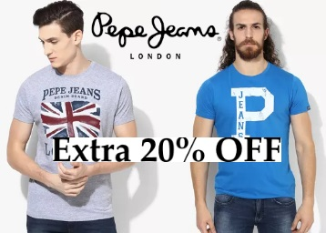 Bumper Discount : Pepe Jeans Clothing at Minimum 60% OFF + Extra 20% OFF low price