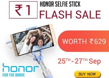 Live – Big Diwali Sale, Honour Selfie Stick at Just Rs.1 [25th -27th Sep]