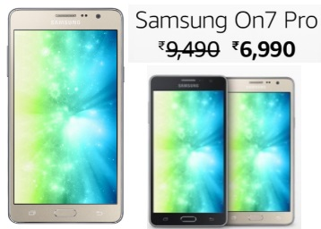 Flat Rs. 2500 off:- Samsung On7 Pro at Rs. 6990 + Rs. 2200 Jio Cashback discount deal