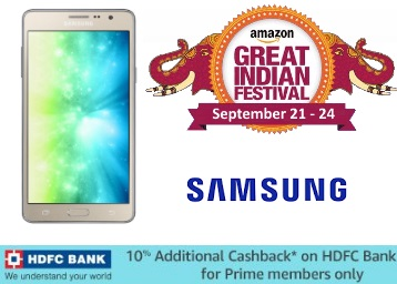 Prime Only Deal : Get Samsung On7 Pro (Gold) at just Rs.7590 + 10% Cashback discount deal