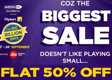 Bumper Offer : Get Flat 50% OFF On All Brands + Extra 10% Cashabck discount offer