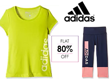 Steal Offer : Flat 80% Off on Adidas Clothing & Accessories from Rs.259 low price