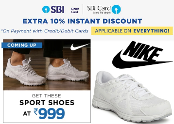 Loot Price:- NIKE Sport Shoes at Just Rs. 999 + Extra 10% Via SBI Cards low price
