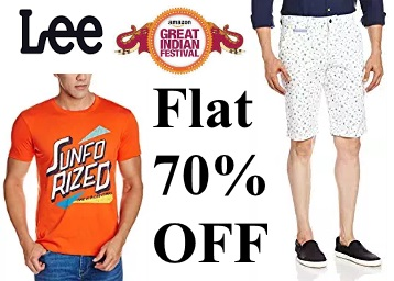 Get Flat 70% OFF On LEE Men's Clothing From Rs. 299 low price