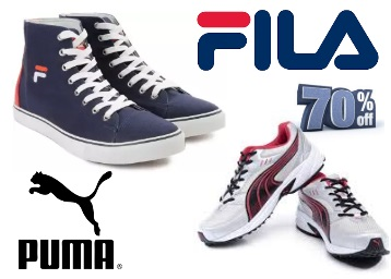 Steal : Flat 70% Off On Puma & Fila Footwear's From just Rs.239 + FREE Shipping discount offer