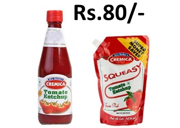 Steal : Cremica Tomato Ketchup, 1kg at Rs. 80 + Free Shipping