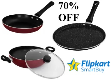 Flat 70% Off on Flipkart Smartbuy Pans, Tawa and Kadhai low price