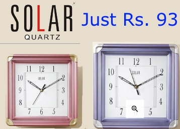 Loot Deal:- SOLAR Wall Clock at Just Rs. 93 + Free Shipping [14 Options] discount deal