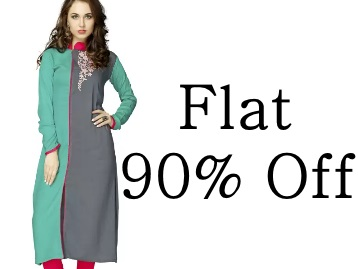 Flat 90% Off : Elevate Women Embroidered Women's Frontslit Kurta low price