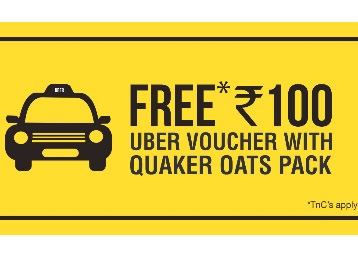 Free Rs. 100 UBER Voucher with Quaker Oats Masala Rs. 135 Pack low price