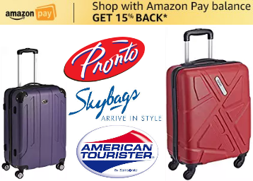 STEAL : Branded Luggages Minimum 60% Off + Extra Up To Rs. 500 Cashback low price