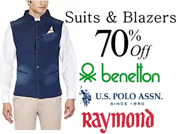 Steal : Flat 70% Off on UCB Suits and Blazers + 15% Cashback discount deal