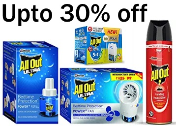 Grab Fast:- All Out Refills at Up to 30% off + Extra 10% Cashback discount deal