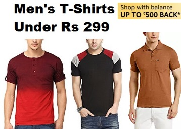 Prime Exclusive- Men's T-Shirts Under Rs. 299 + 10% Cashback [Max. Rs. 500] discount deal