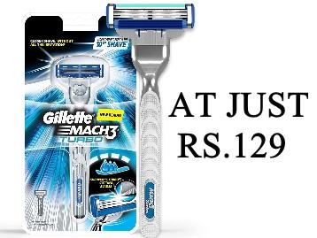 Gillette Mach 3 Turbo Manual Shaving Razor at Rs.129 low price