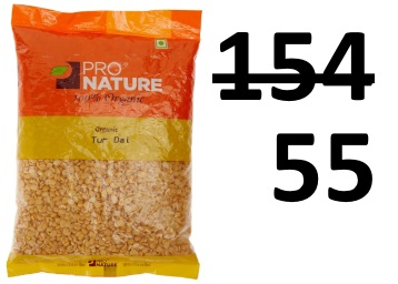Flat 64% off:- Pro Nature 100% Organic Tur Dal, 500g at Just Rs. 55 low price