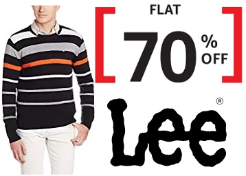Awesome Offer:- Flat 70% Off on Lee Jackets, Sweatshirts and Sweaters discount deal