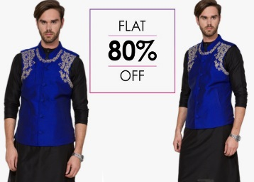 Flat 80% off:- Svanik Kurta Pyjama With Waistcoat at Just Rs. 830 + Free Shipping low price